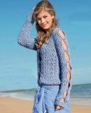 Пуловер с разрезами, фото.