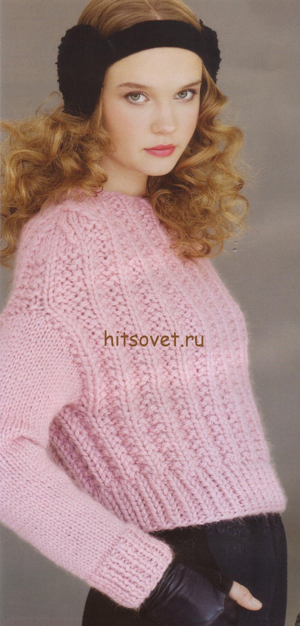 Розовый джемпер граненой резинкой