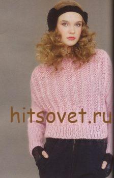 Розовый джемпер граненой резинкой, фото 2.