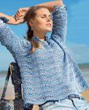 Свободный летний пуловер спицами, фото.