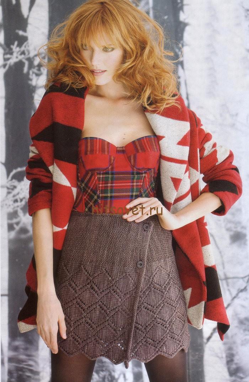 Вязаная мини юбка, фото модели.