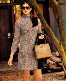 Вязаное мини платье, фото.