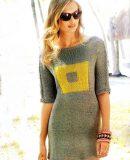 Вязаное мини платье спицами, фото.