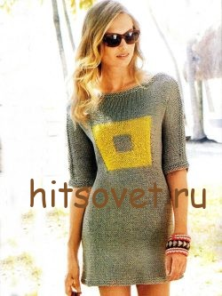 Вязаное мини платье спицами