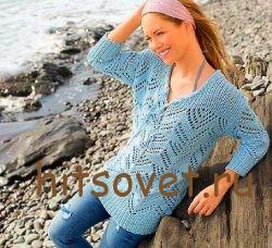 Вязаный летний пуловер женский