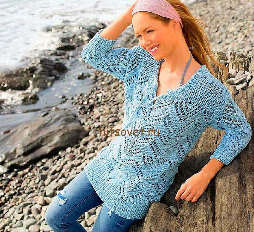 Вязаный летний пуловер женский, фото.
