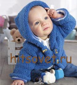 Жакет с капюшоном для малыша спицами