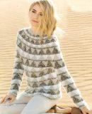 Жаккардовый пуловер с круглой кокеткой, фото.