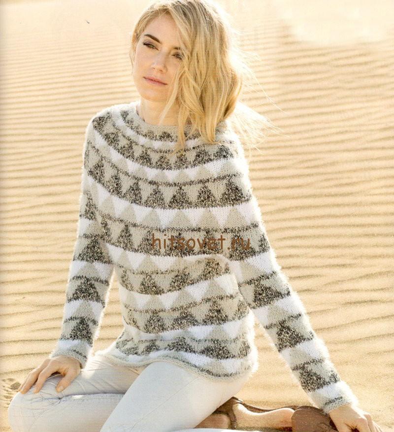 Жаккардовый пуловер с круглой кокеткой