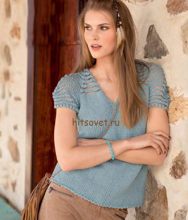 Женская футболка спицами, фото.