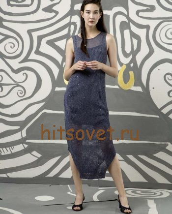 Длинное платье спицами, фото 1.