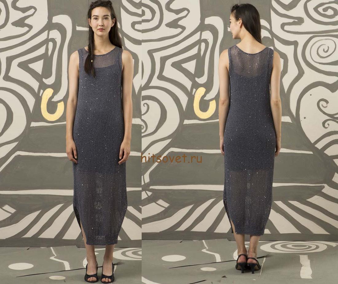 Длинное платье спицами, фото 2.