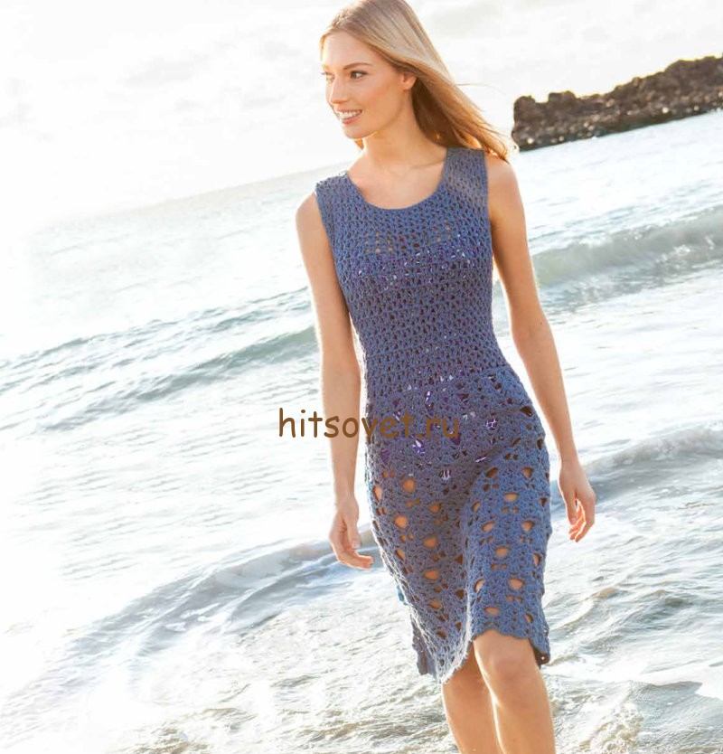 Красивое платье на лето крючком, фото.