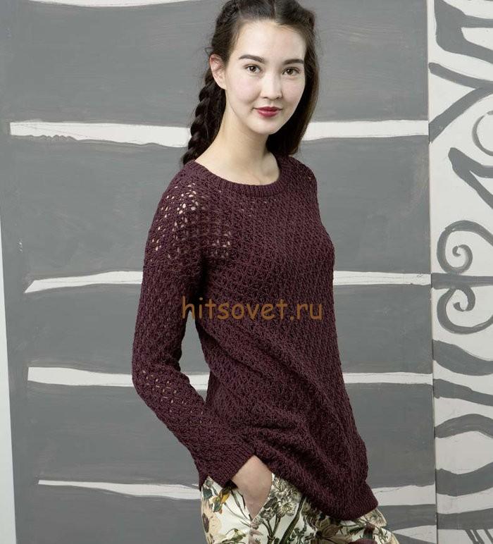 Летний пуловер женский спицами, фото.