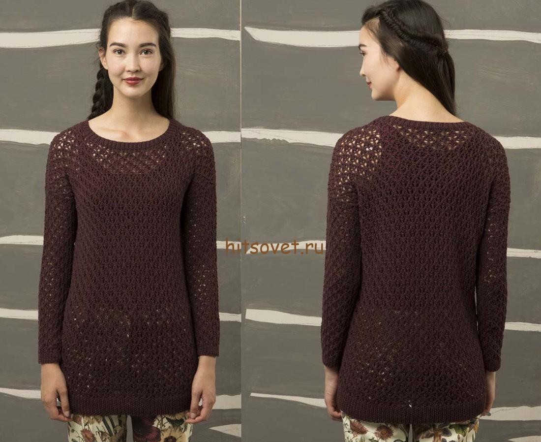 Летний пуловер женский спицами, фото 2.