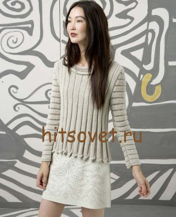 Стильный пуловер спицами женский, фото 1.