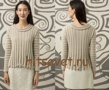 Стильный пуловер спицами женский, фото 2.