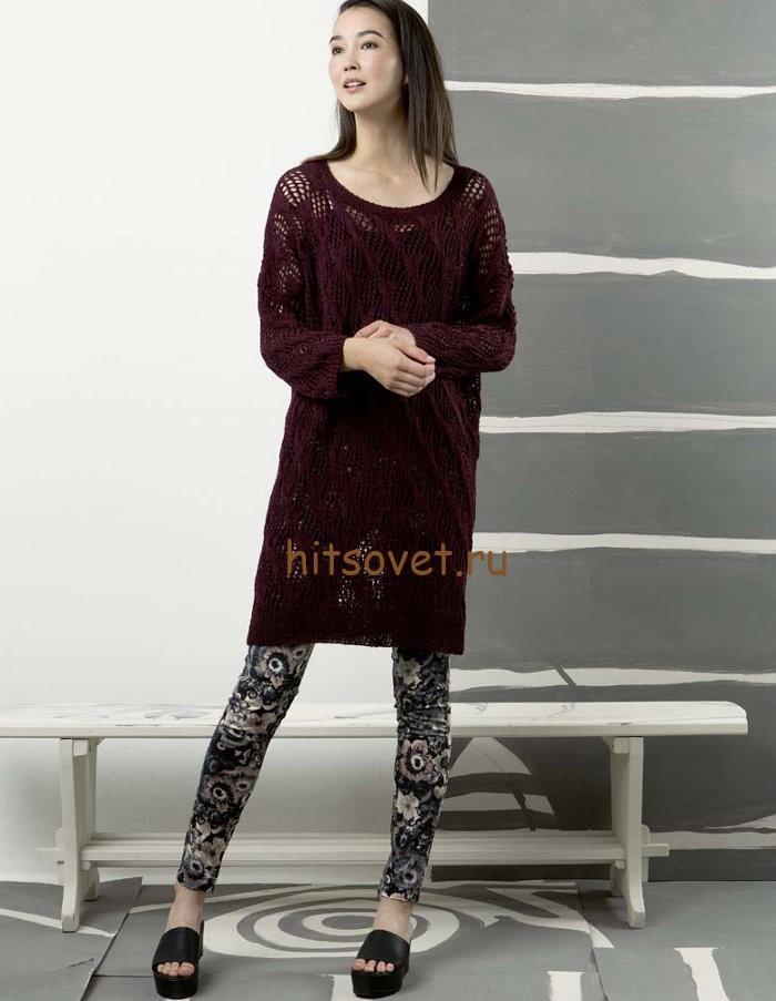 Свободное платье спицами