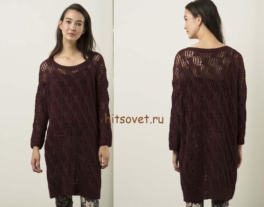 Свободное платье спицами, фото 2.