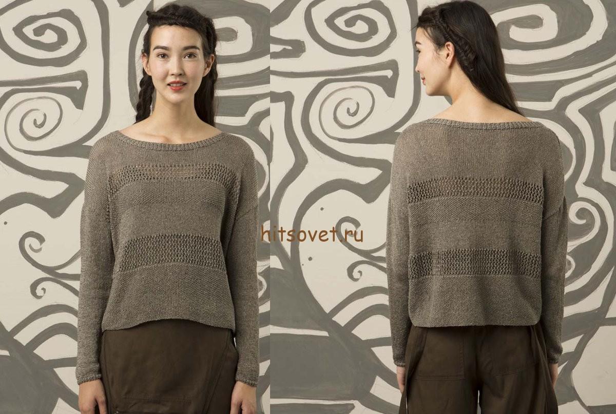 Свободный пуловер спицами для женщин, фото 2.