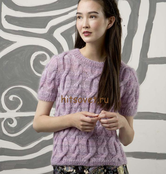Вязание пуловера с коротким рукавом, фото 1.