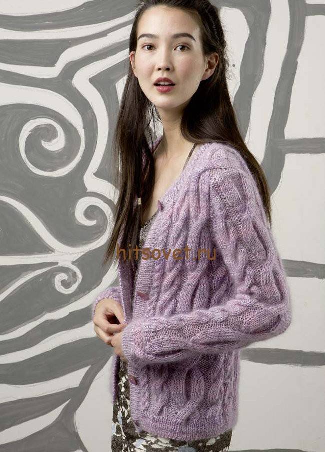 Жакет с косами спицами, фото 1.