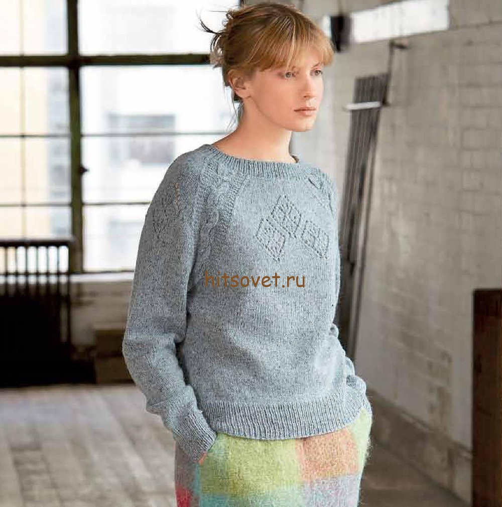 Классический пуловер спицами женский, фото 1.