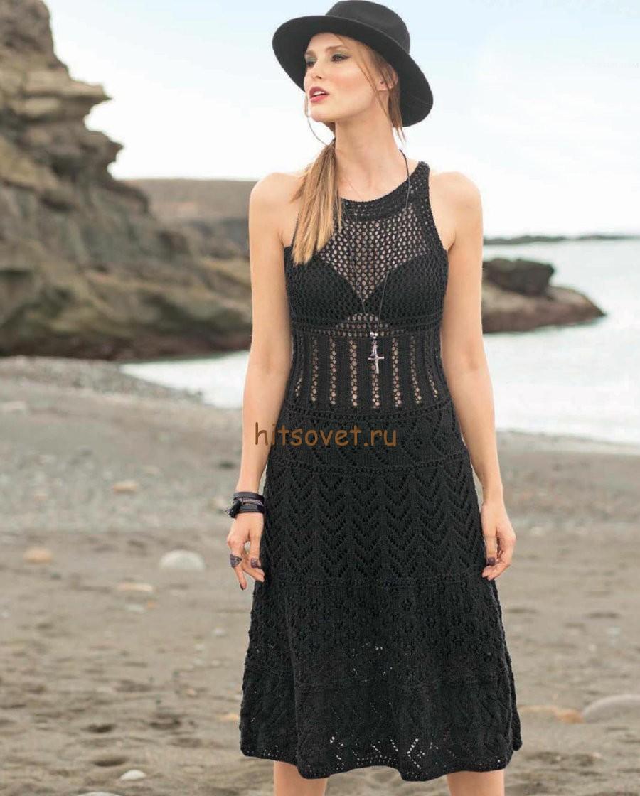 Платье черное спицами, фото.