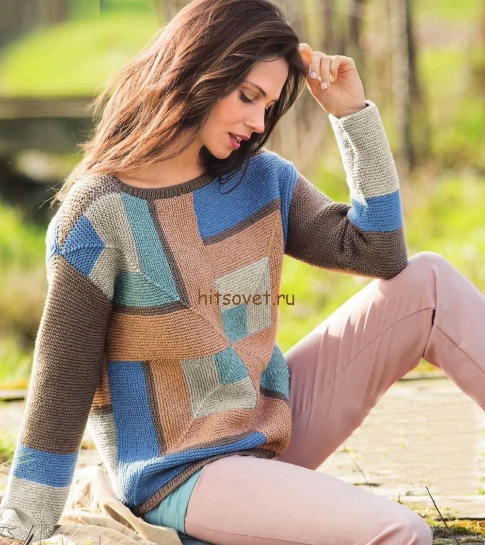 Пуловер в стиле пэчворк, фото 1.