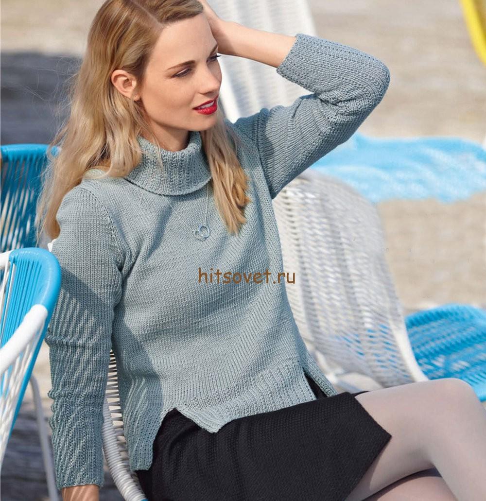 Классический женский свитер спицами, фото.