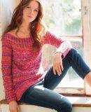 Меланжевый пуловер спицами для женщин, фото.