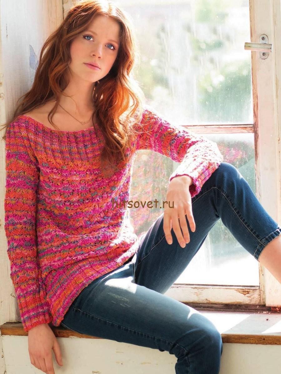 Меланжевый пуловер спицами для женщин