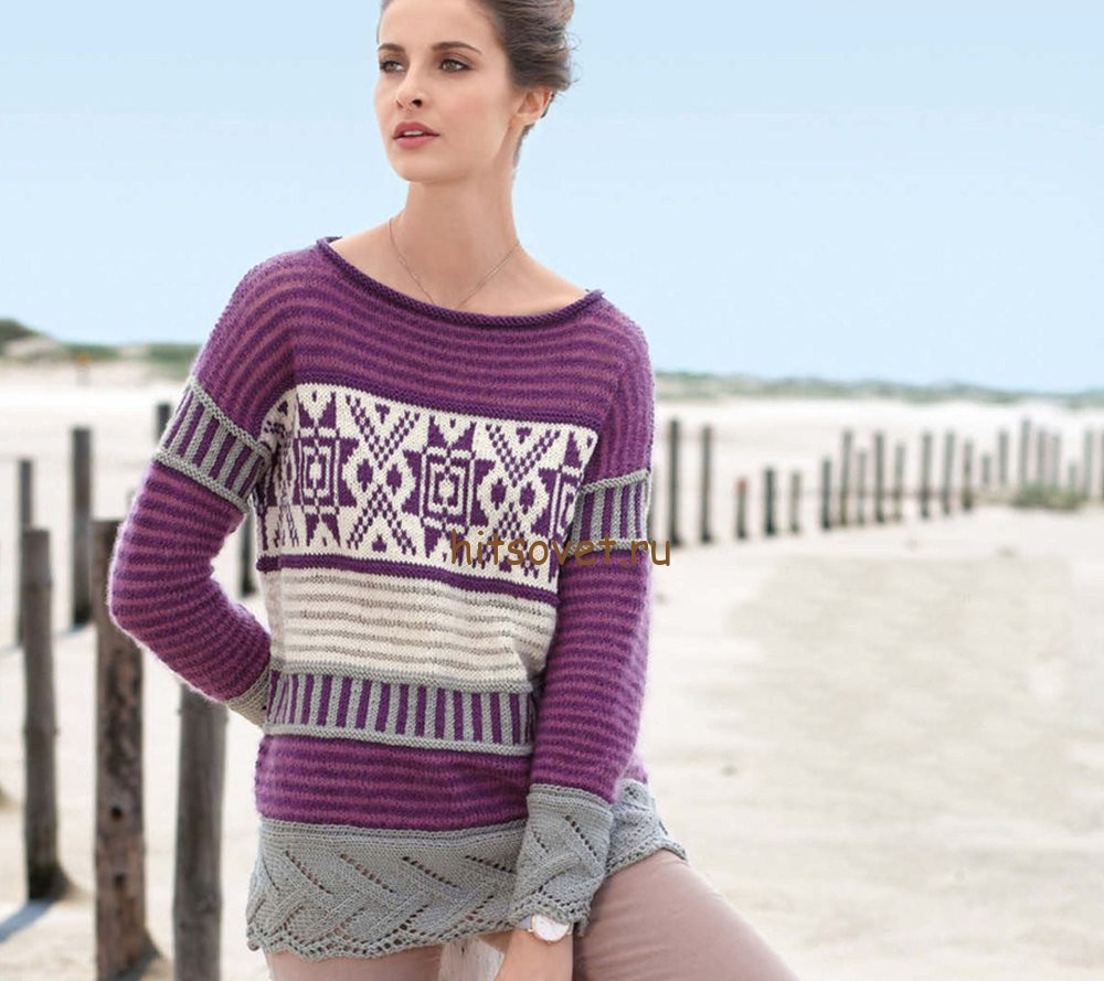Норвежский пуловер спицами, фото.