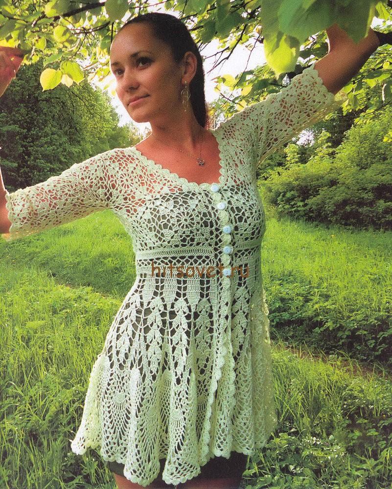 Платье кардиган крючком, фото 1.