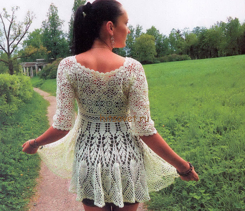 Платье кардиган крючком, фото 2.