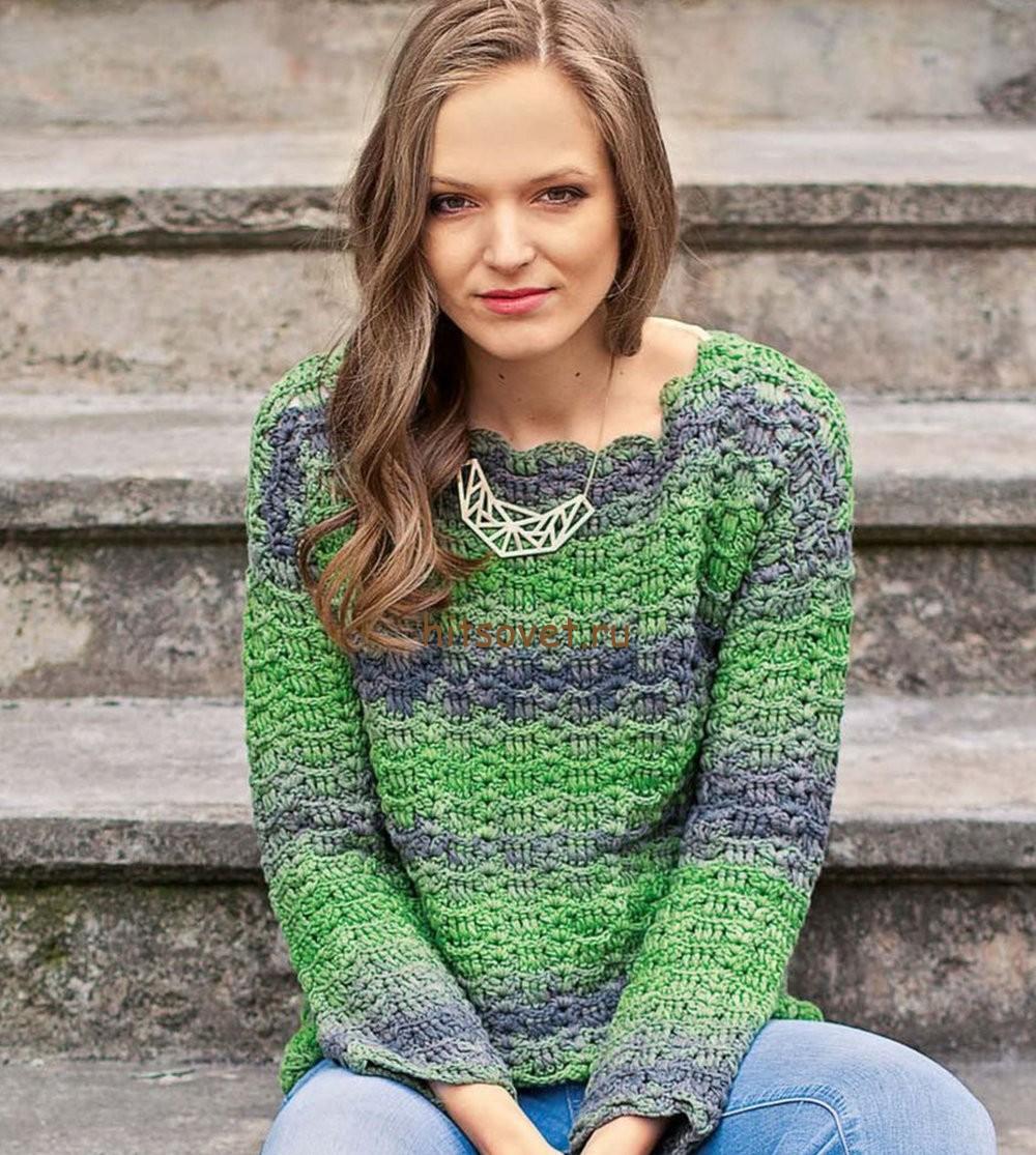 Пуловер из ленточной пряжи крючком, фото 1.