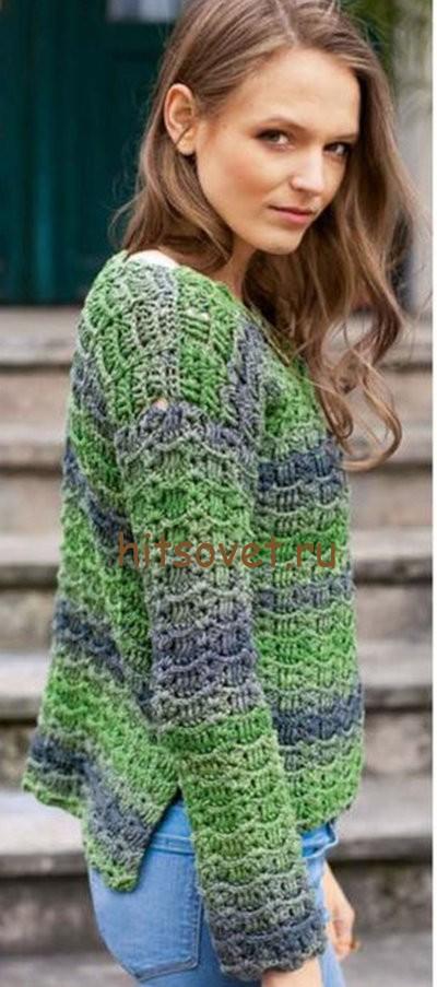 Пуловер из ленточной пряжи, фото 2.