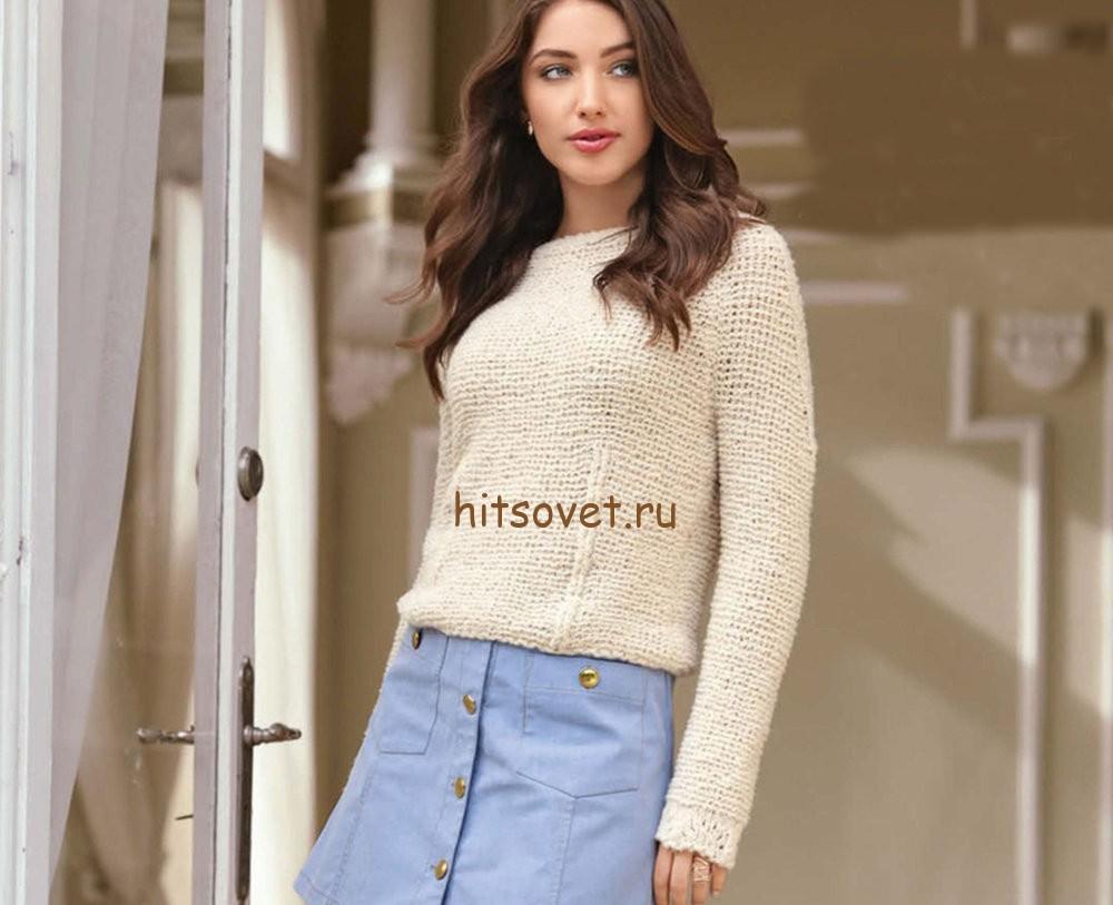 Пуловер платочной вязкой, фото.