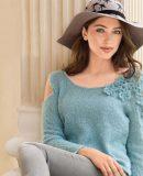 Пуловер с цветами, фото.
