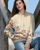 Пуловер с листьями схема, фото.