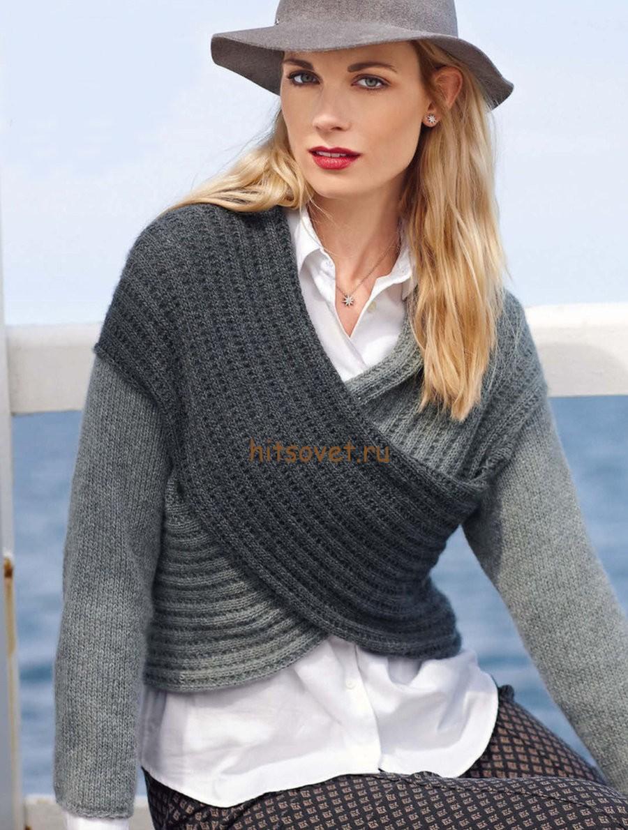 Пуловер с перекрученным передом
