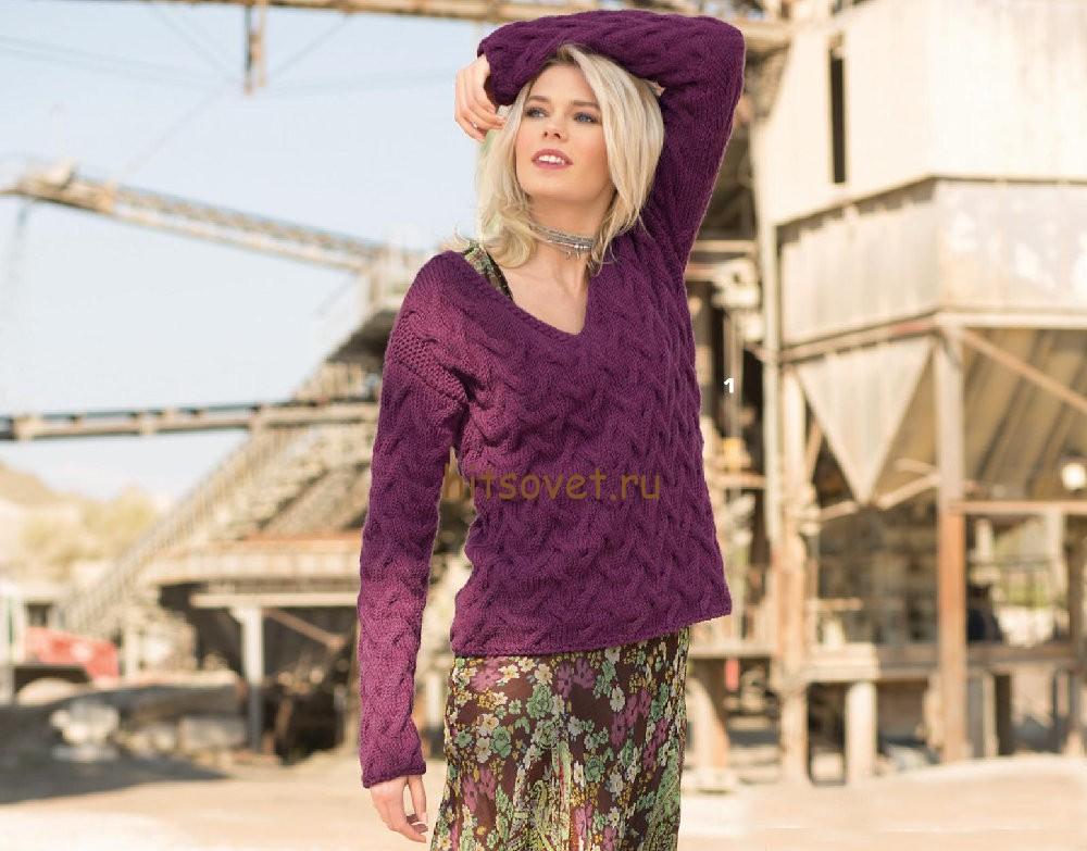 Джемпер с косами схема вязания, фото.