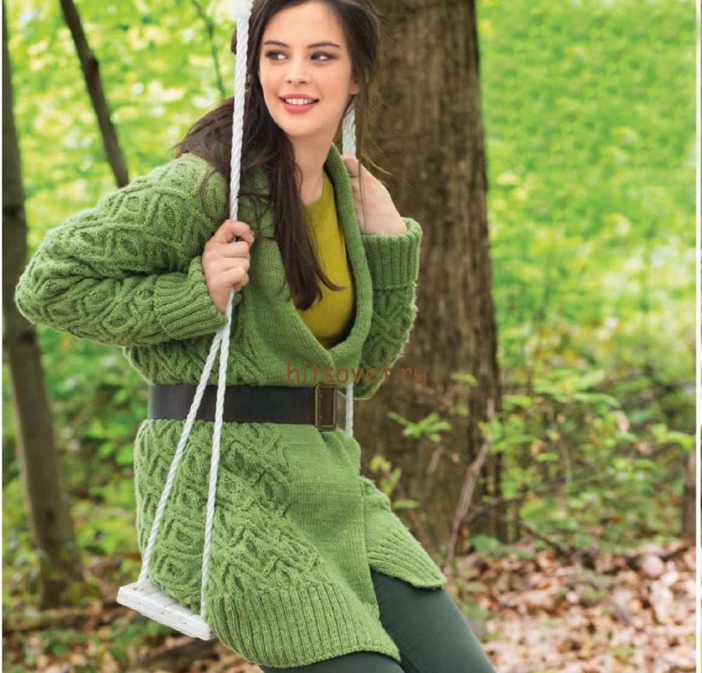 описание и схема вязания кардиган шалом