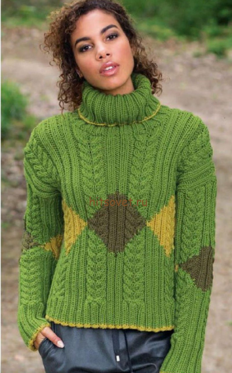 Модный свитер с косами, фото.