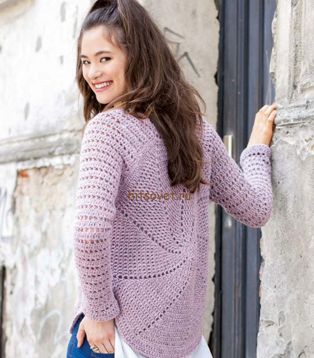 Пуловер крючком схемы и описание, фото 2.