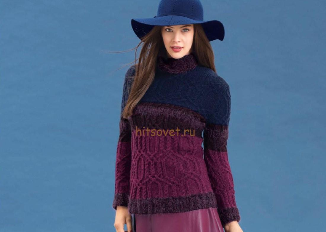 Разноцветный пуловер с косами, фото.
