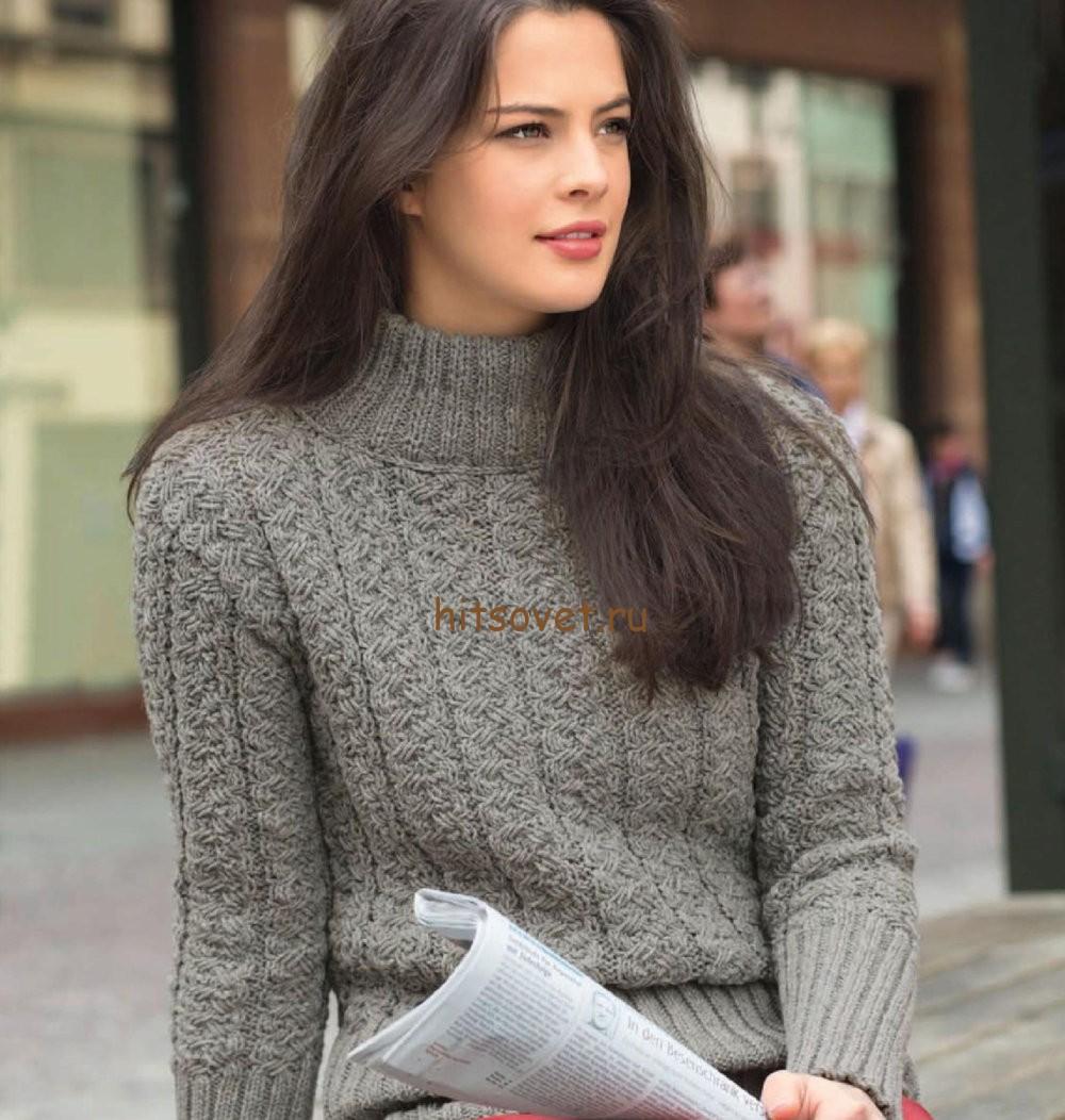 схемы вязания свитера с объёмным рисунком квадраты