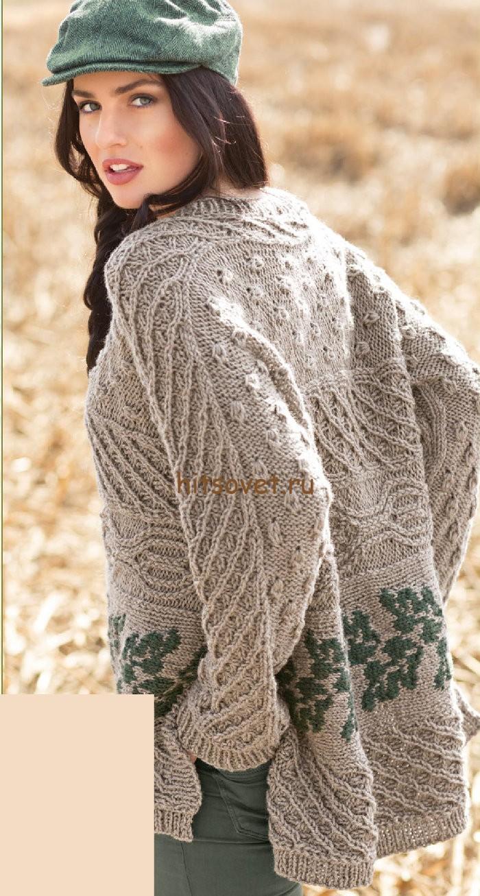 Свободный пуловер с аранами, фото.
