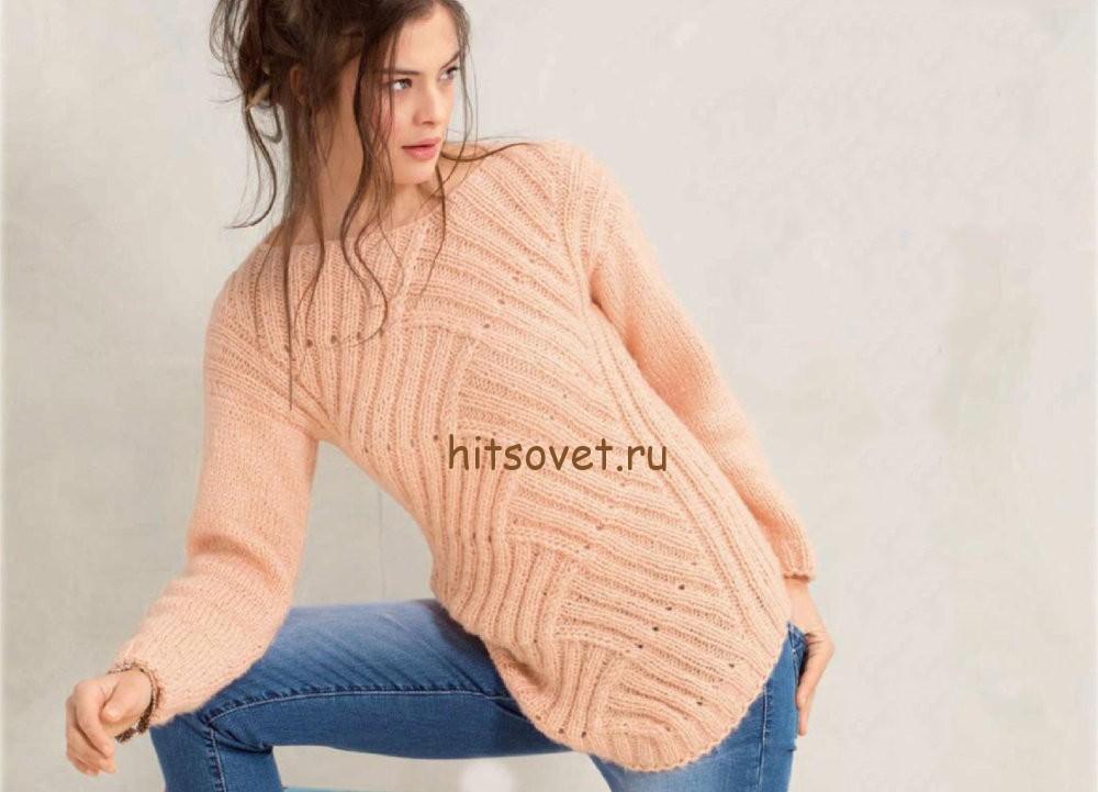 Вязание пуловер в технике энтрелак