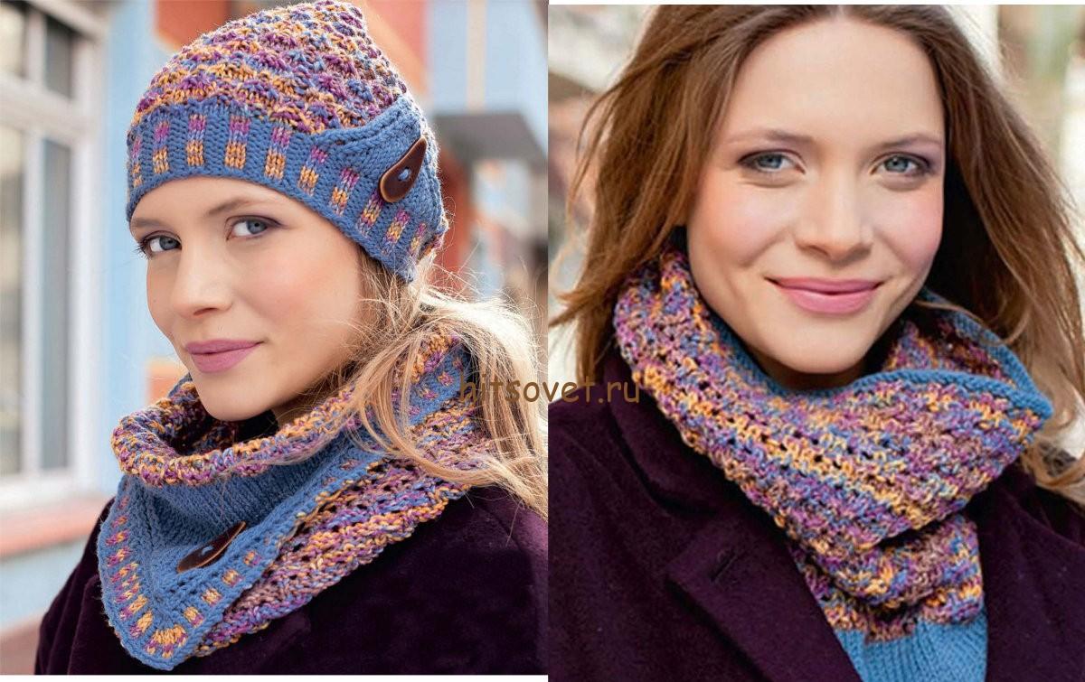 Вязание шапки и снуда для женщин